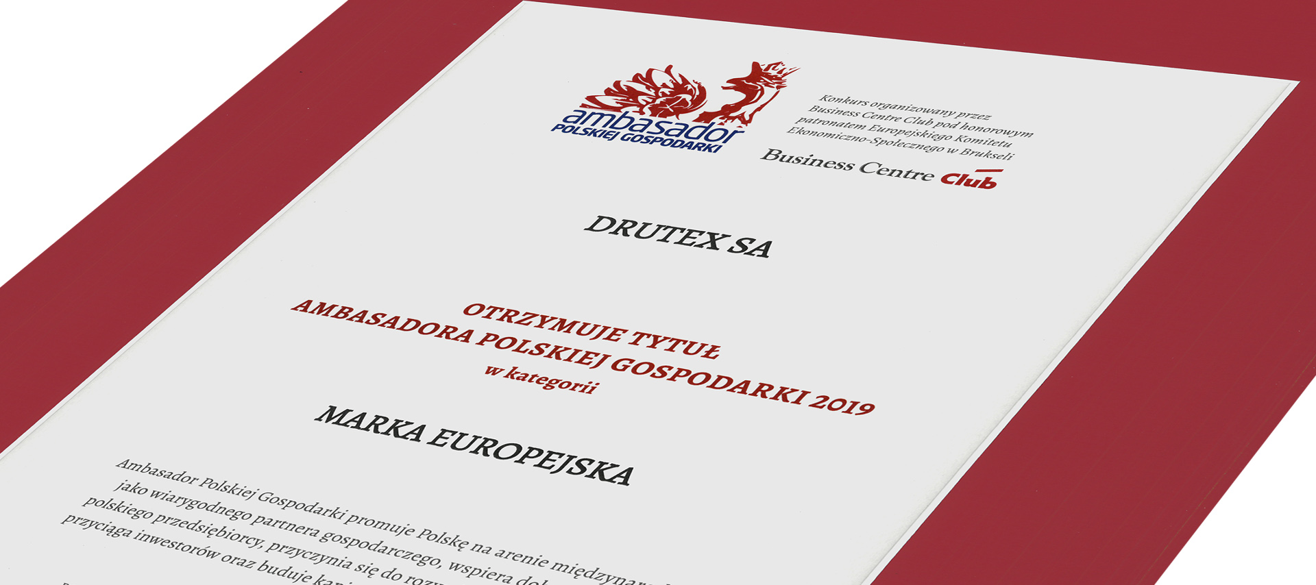 Drutex yet again has been awarded the Ambassador of Polish Economy title