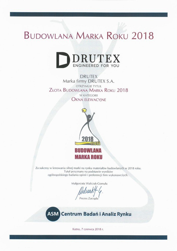 The Golden Construction Brand 2018 for Drutex.